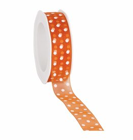 Organza satin woven edge ribbon Dots - orange