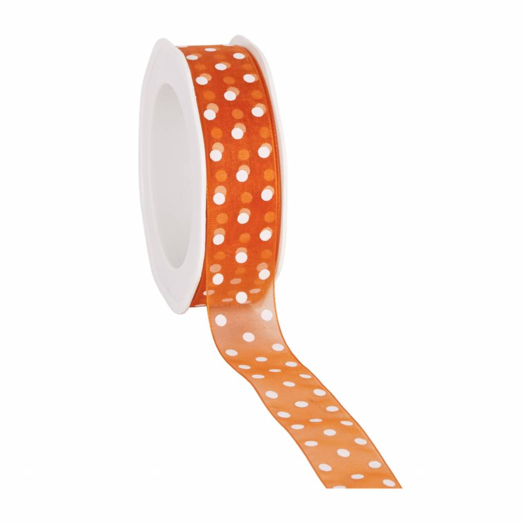 Organza satin woven edge ruban Dots - orange