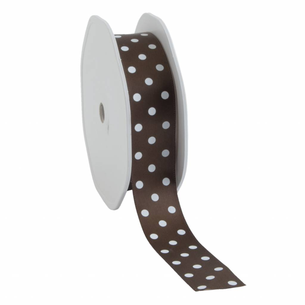 Single face satin ribbon Dots - chocolate brown