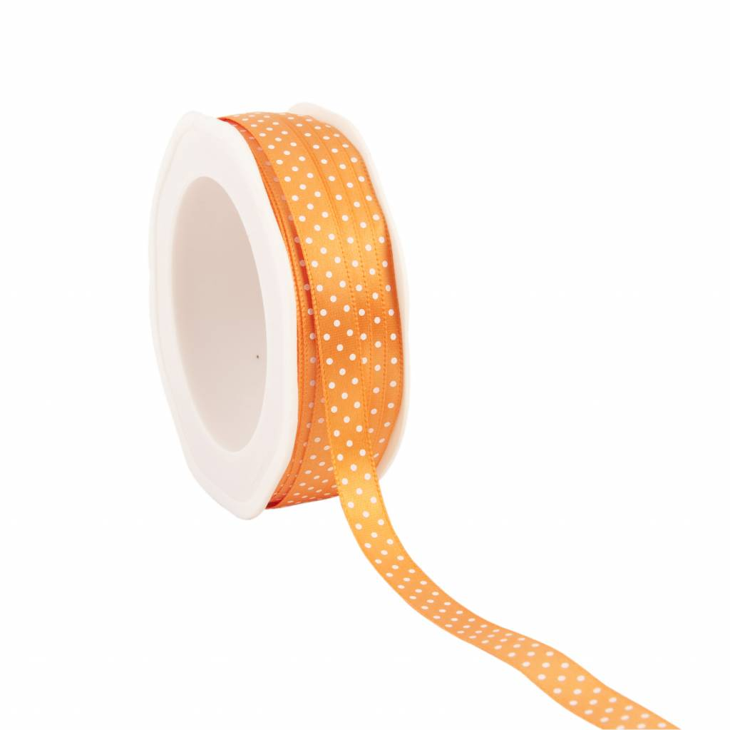 Single face satin Band Dots - Orange
