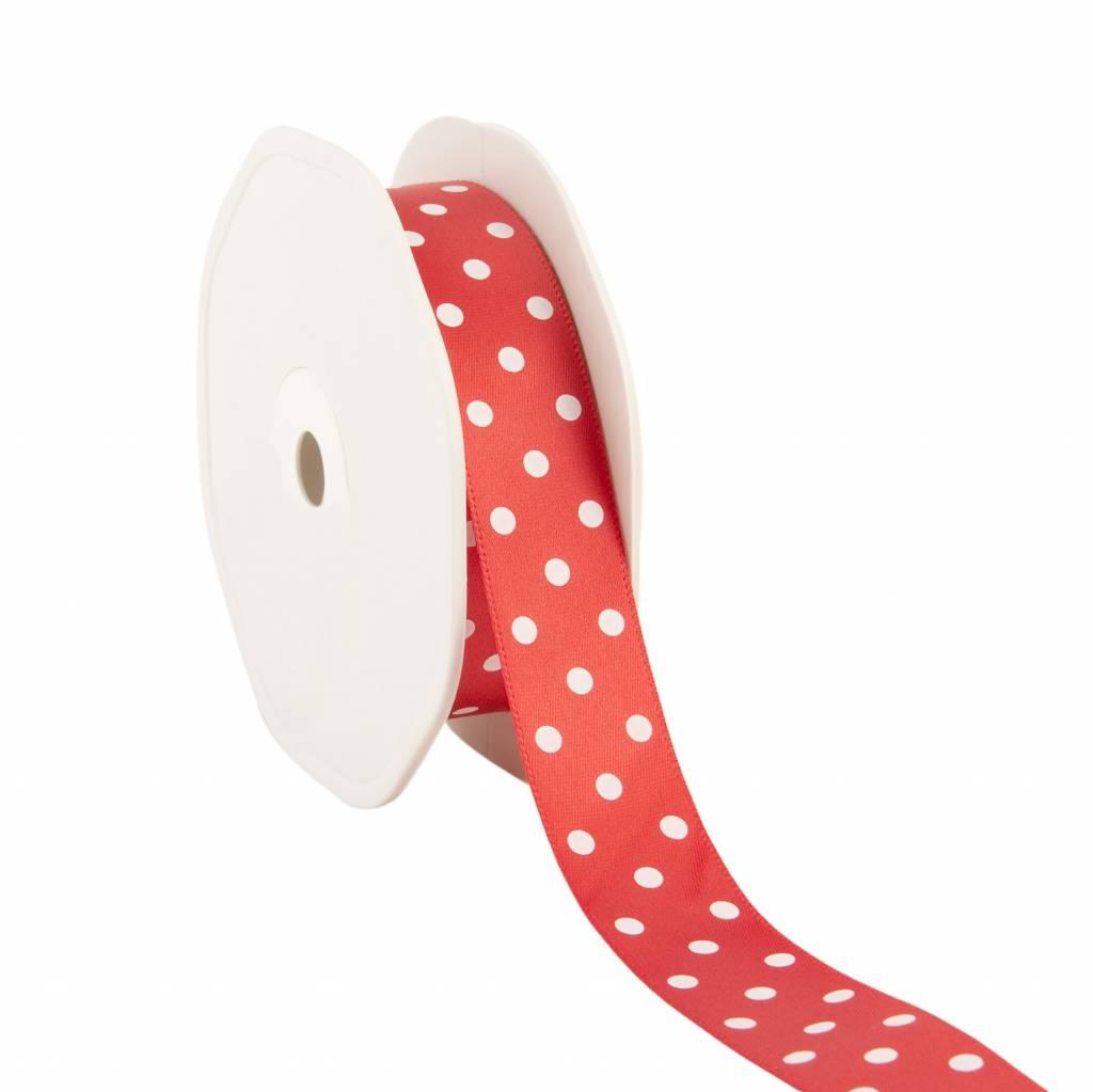 Single face satin ribbon Dots - red