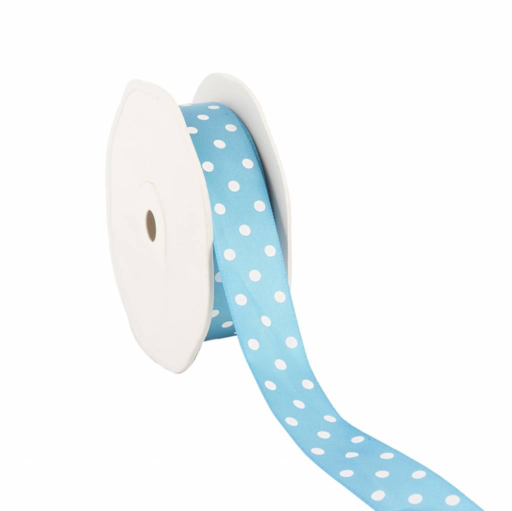 Single face satin ribbon Dots - turquoise