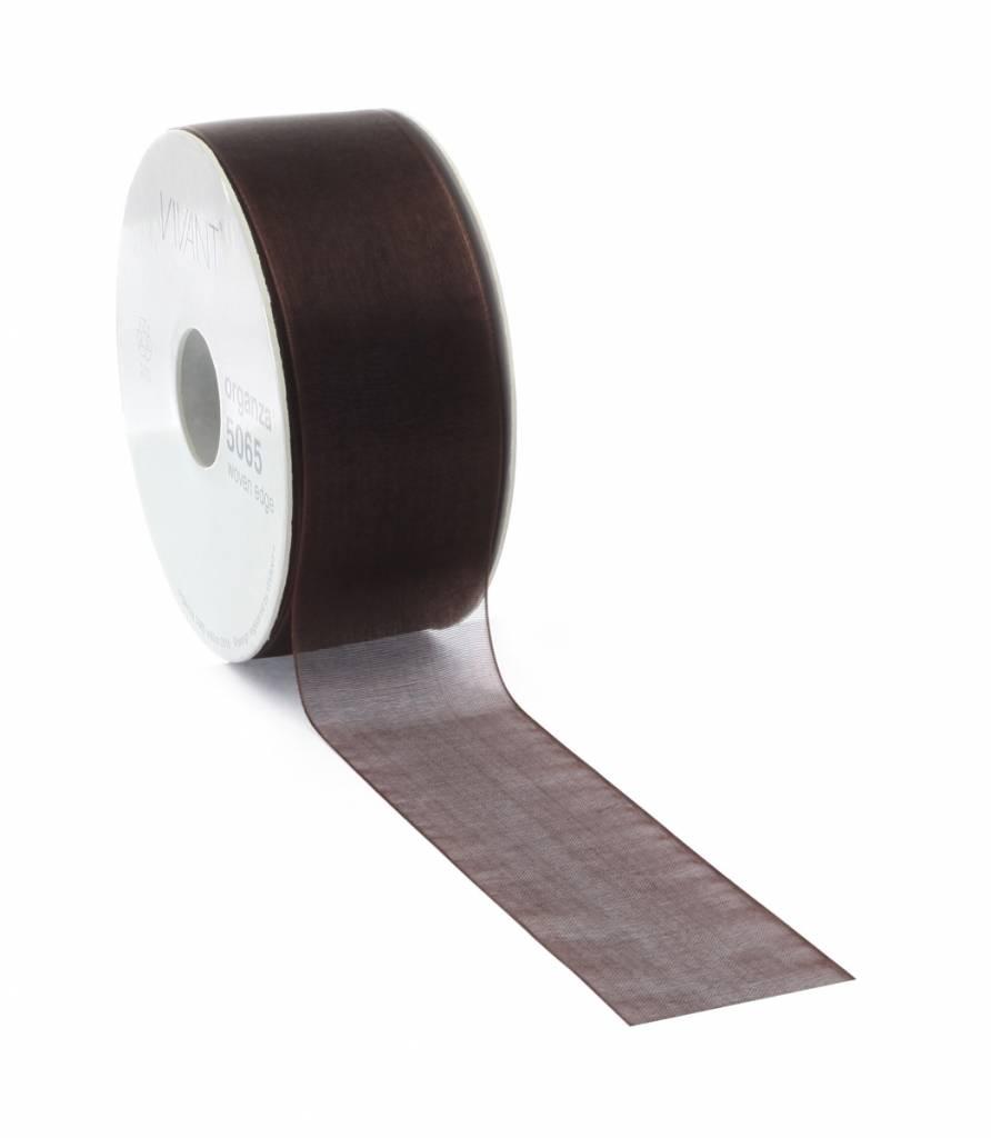 Organza ribbon - Dark Brown