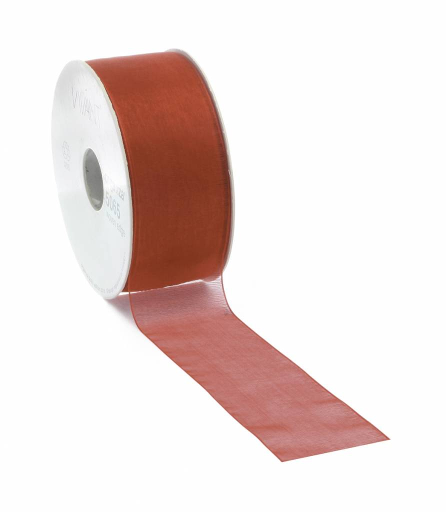 Ruban organza avec fil de fer - Red