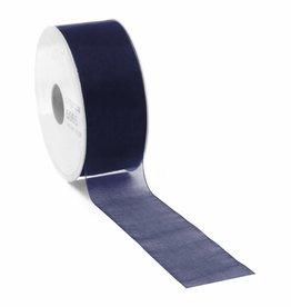 Ruban organza avec fil de fer - Dark Blue