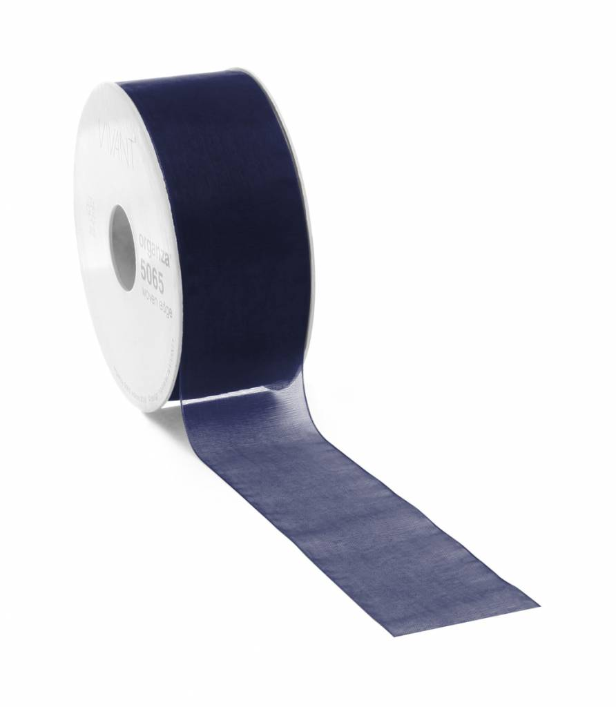 Organza lint met draad - Dark Blue