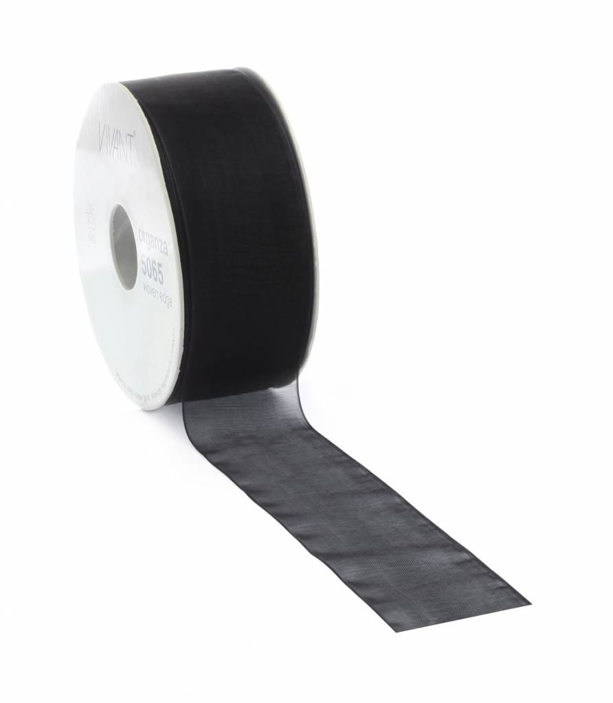 Ruban organza avec fil de fer - Black