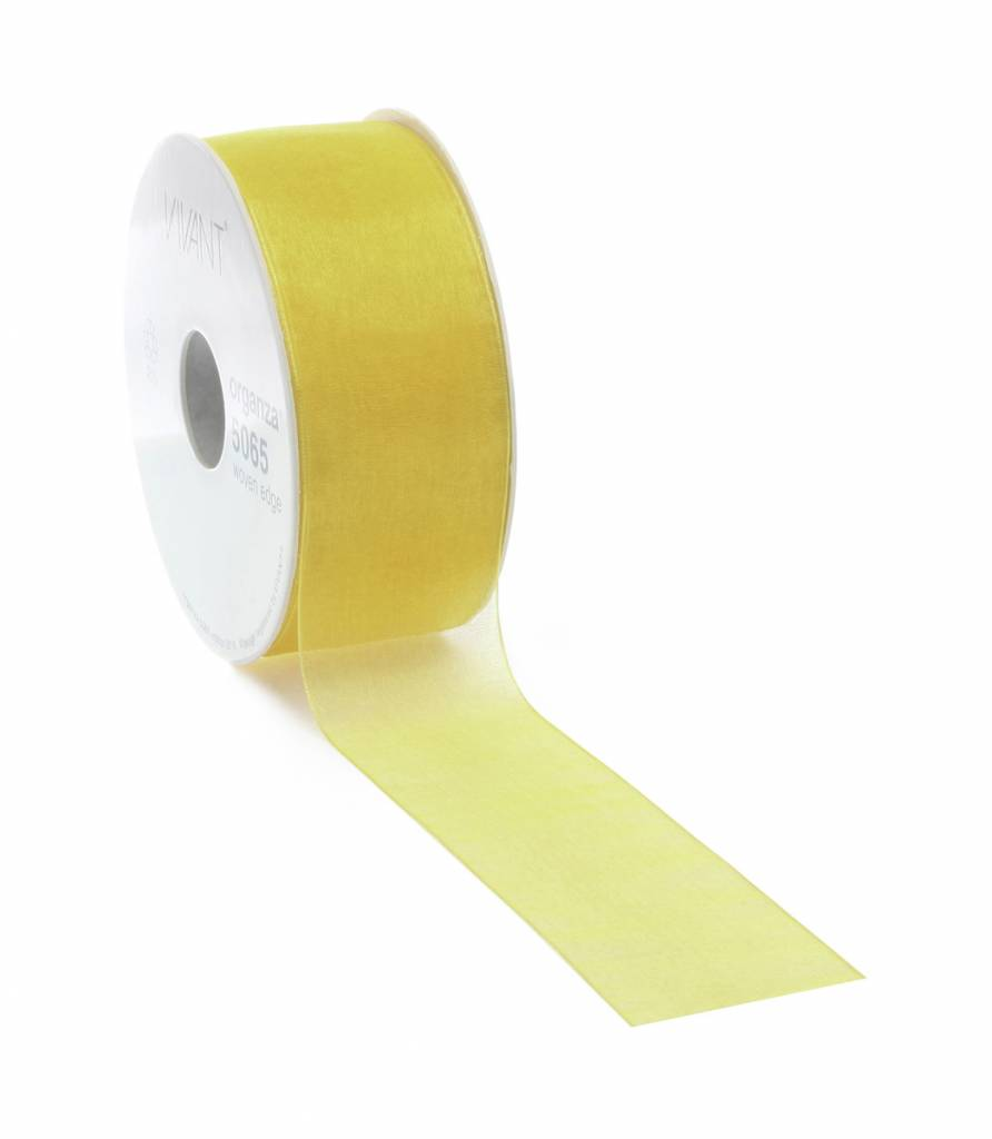 Organza ribbon with wire - Yellow