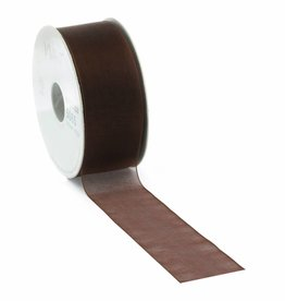 Organza ribbon wired - Brown