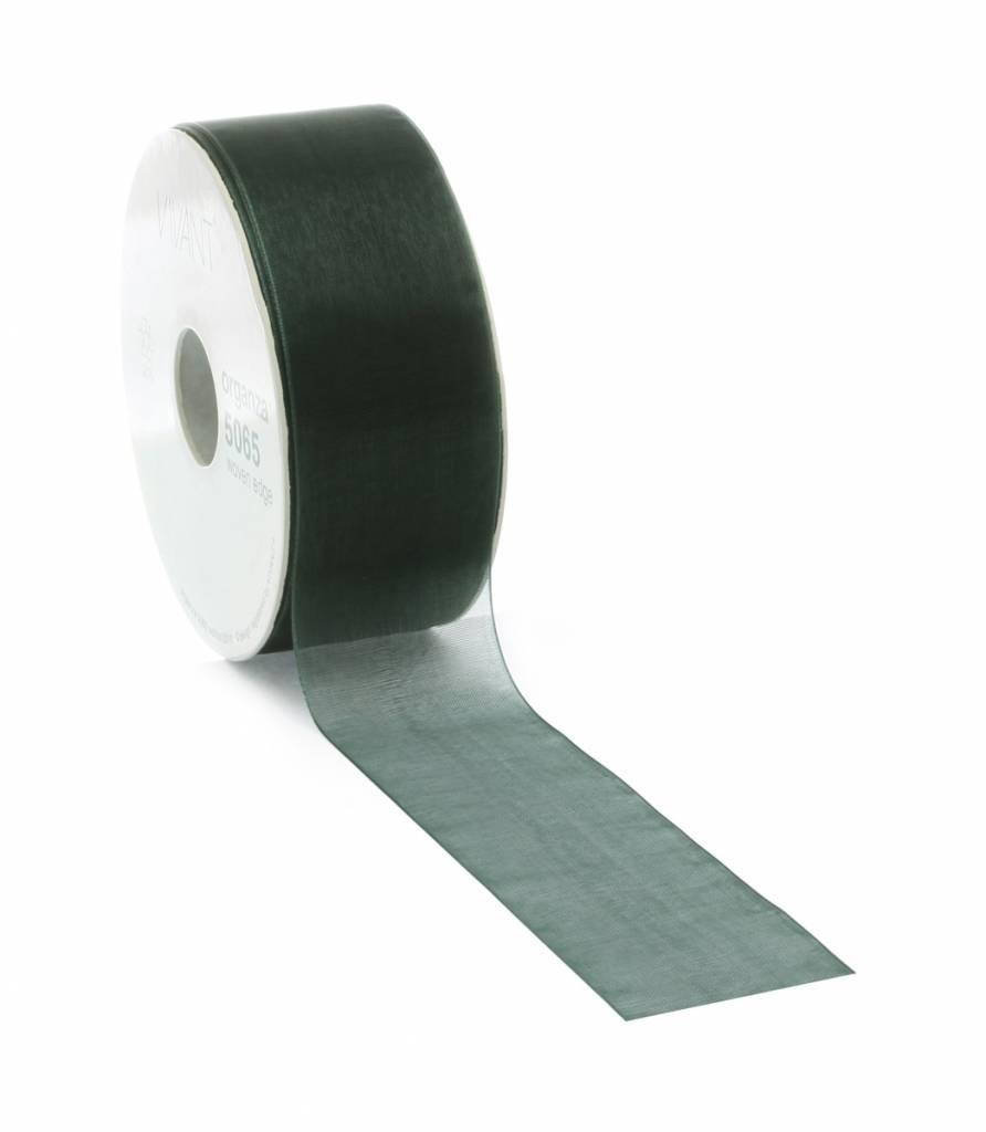 Organza ribbon wired - Dark Green