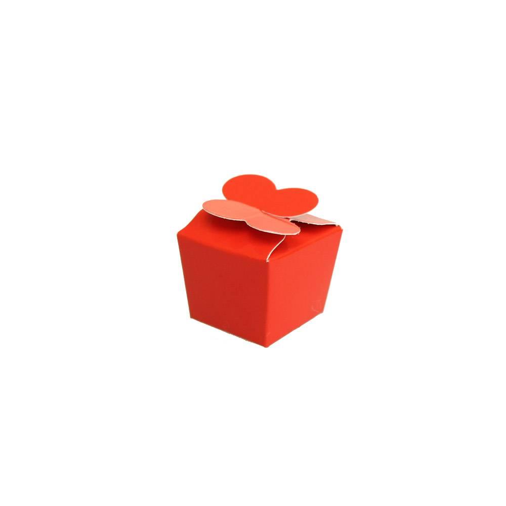 Mini Ballotin pour 1 praline - 30*30*30 mm - rouge brillant - 100 pièces
