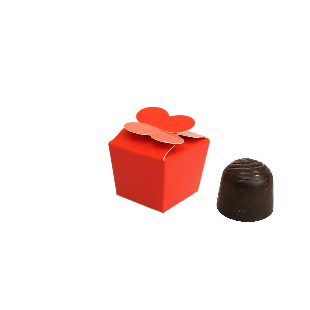 Mini Ballotin für 1 Praline - 30*30*30 mm - glänzend  Rot - 100 Stück