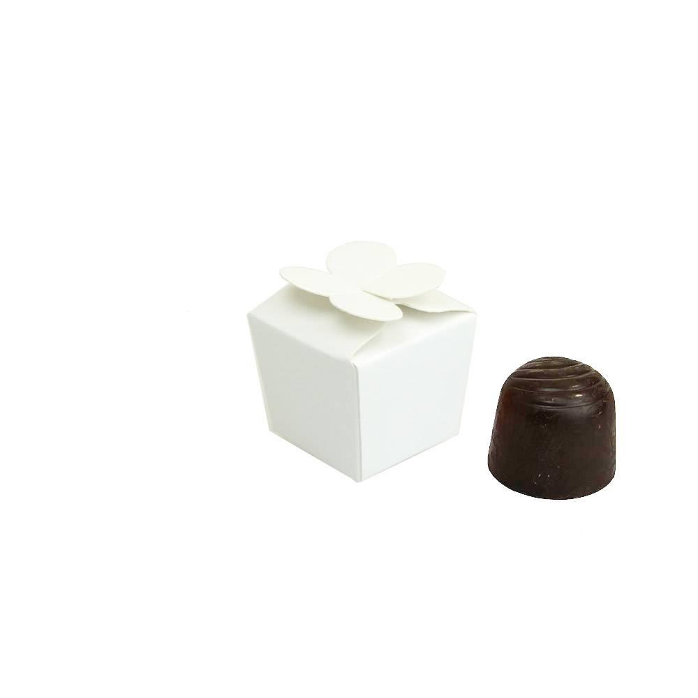 Mini Ballotin für 1 Praline - 30*30*30 mm - 100  mm - glänzend  Weiß - 100 Stück