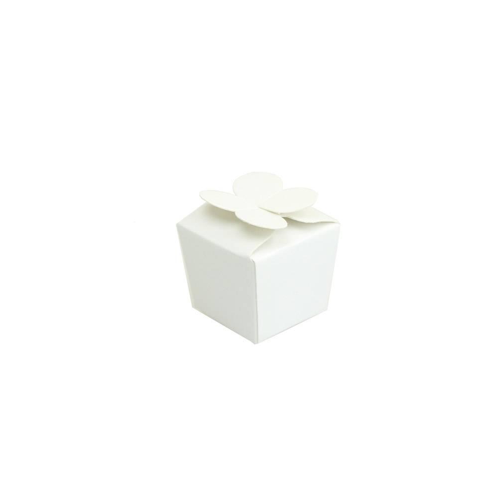 Ballotin mini por 1 bombón - 30*30*30 mm - 100  mm - blanca brillante - 100 unidades