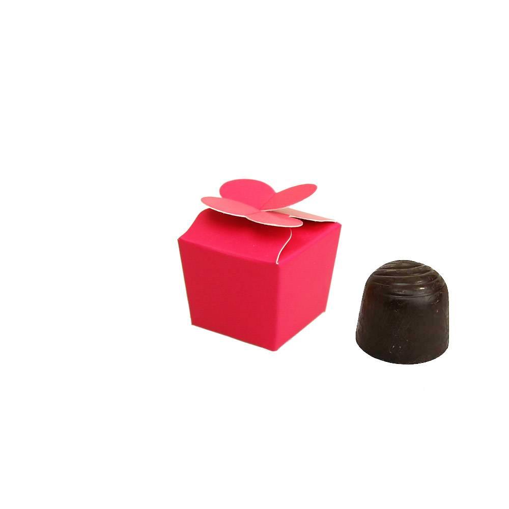 Mini ballotin voor 1 bonbon - 30*30*30 mm - fuchsia - 100 stuks