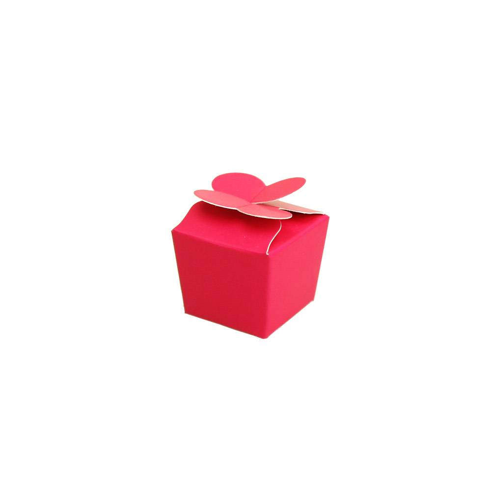 Mini Ballotin for 1 chocolate - 30*30*30 mm - fuchsia -100 pieces