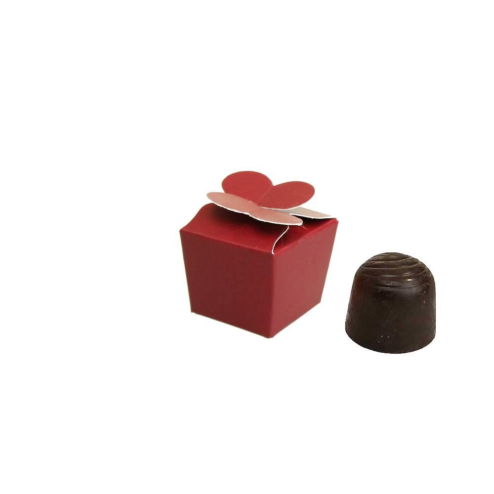 Mini Ballotin for 1 chocolate - 30*30*30 mm - bordeaux -100 pieces