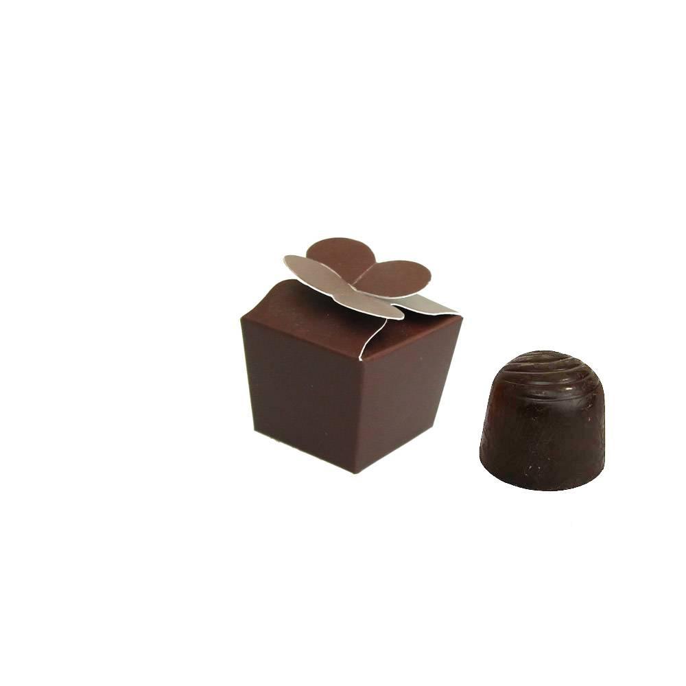 Mini Ballotin für 1 Praline - 30*30*30 mm - Dunkelbraun - 100 Stück