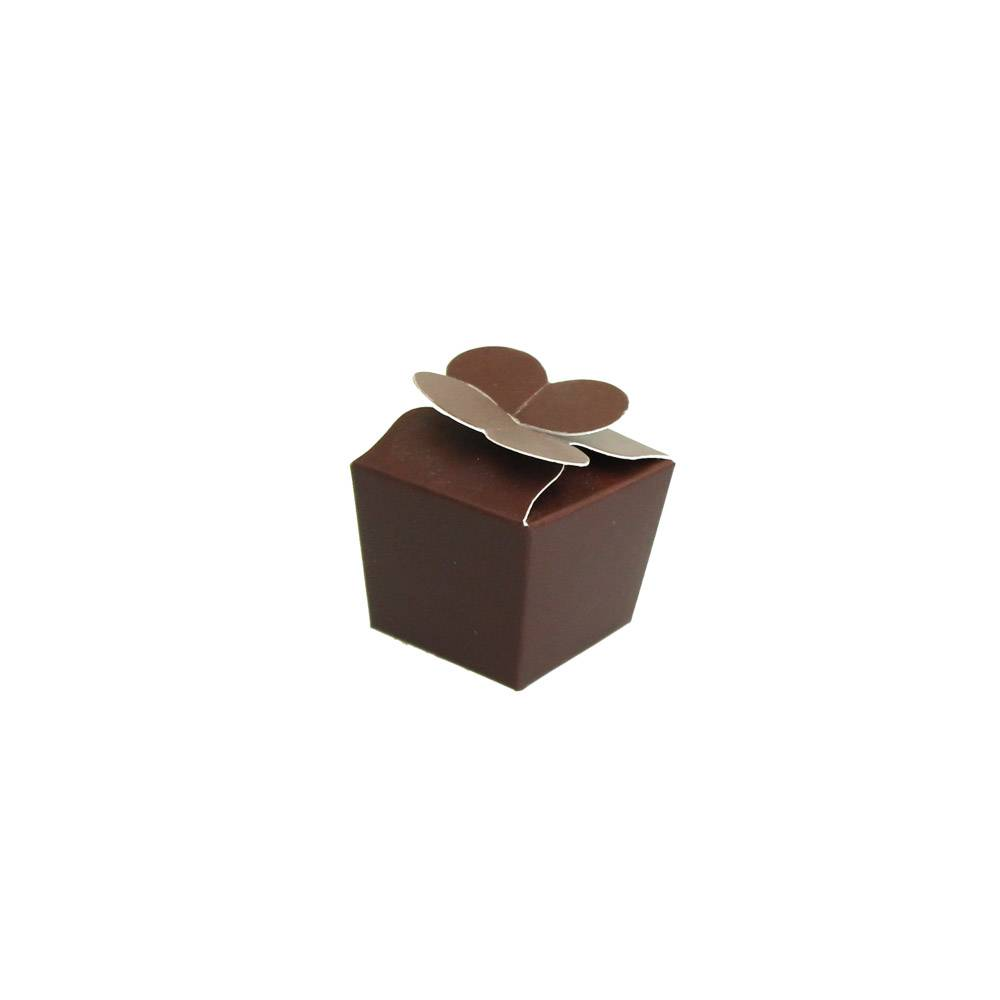 Mini Ballotin for 1 chocolate - 30*30*30 mm - dark brown -100 pieces