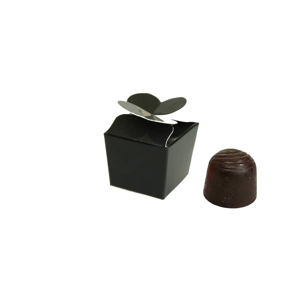 Mini Ballotin for 1 chocolate - 30*30*30 mm - glossy  black -100 pieces
