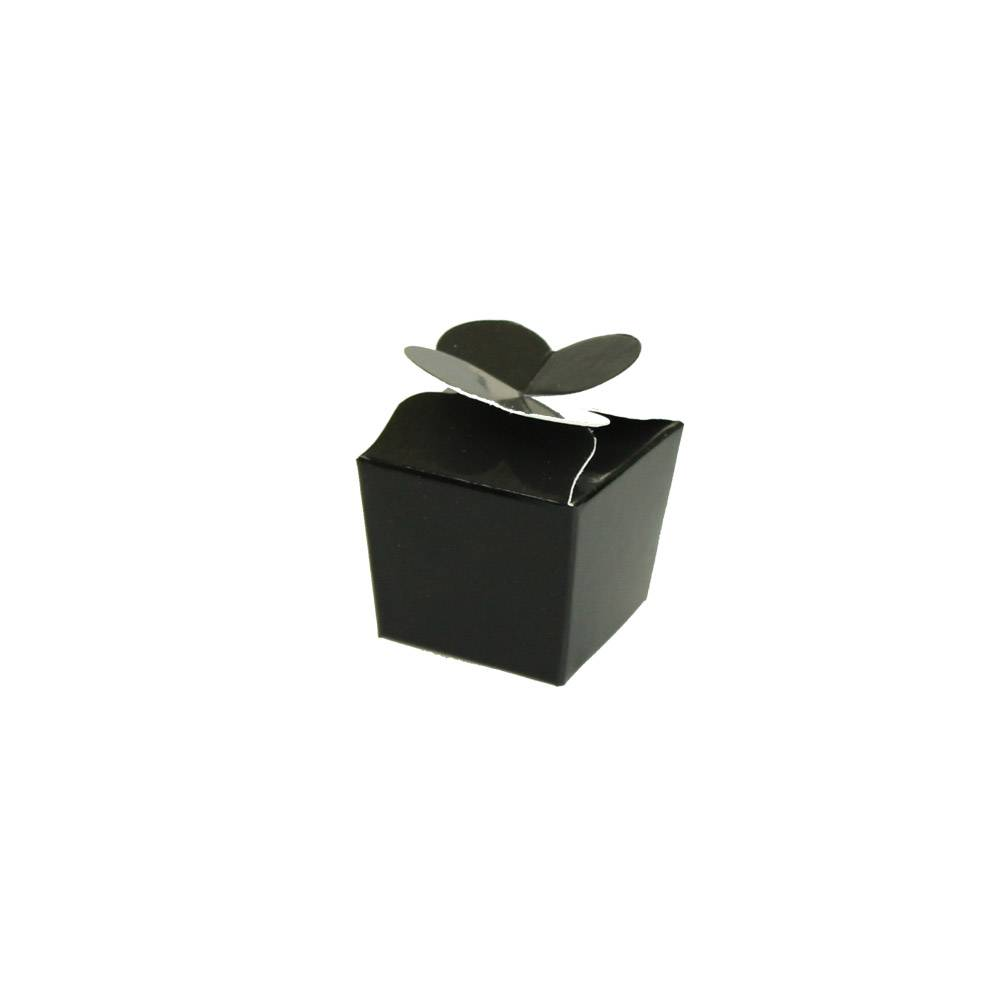 Mini Ballotin für 1 Praline - 30*30*30 mm - glänzend Schwarz - 100 Stück