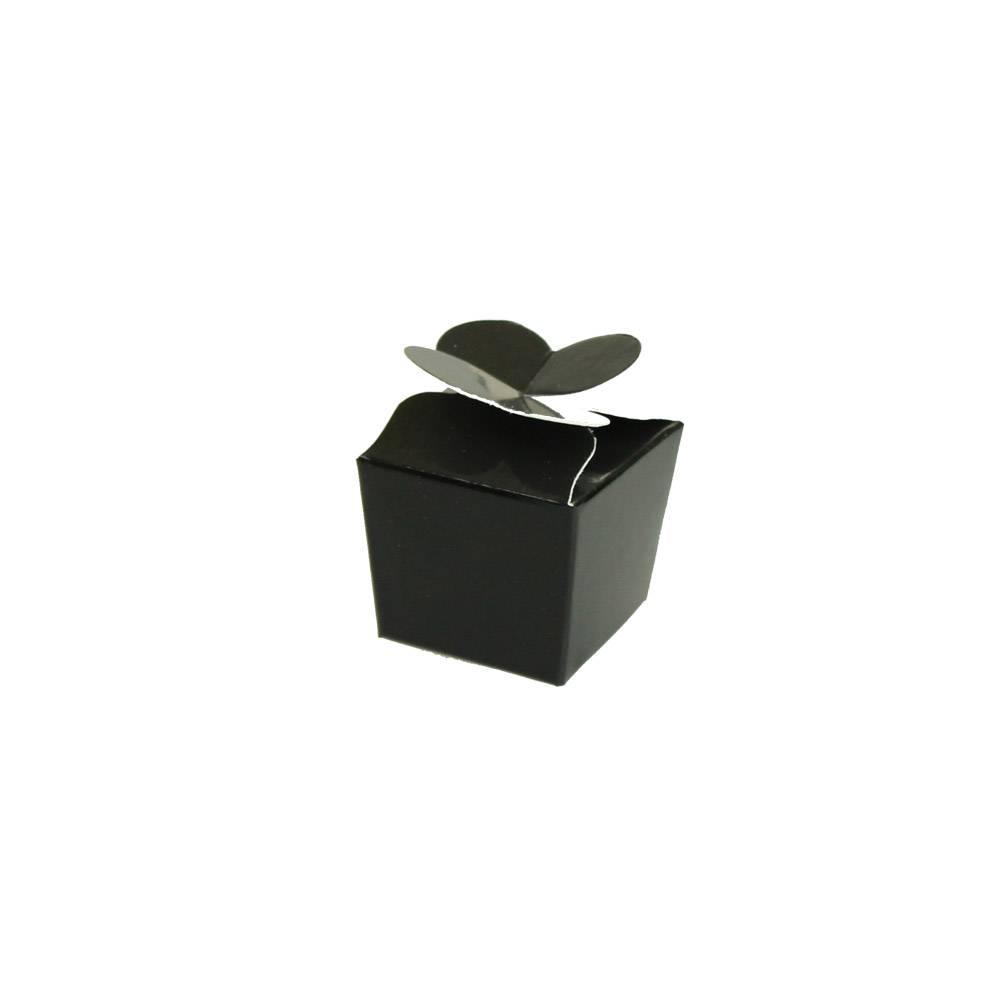Mini Ballotin pour 1 praline - 30*30*30 mm - noir brillant- 100 pièces