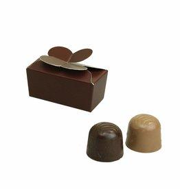 Mini ballotin for 2 chocolates - dark brown