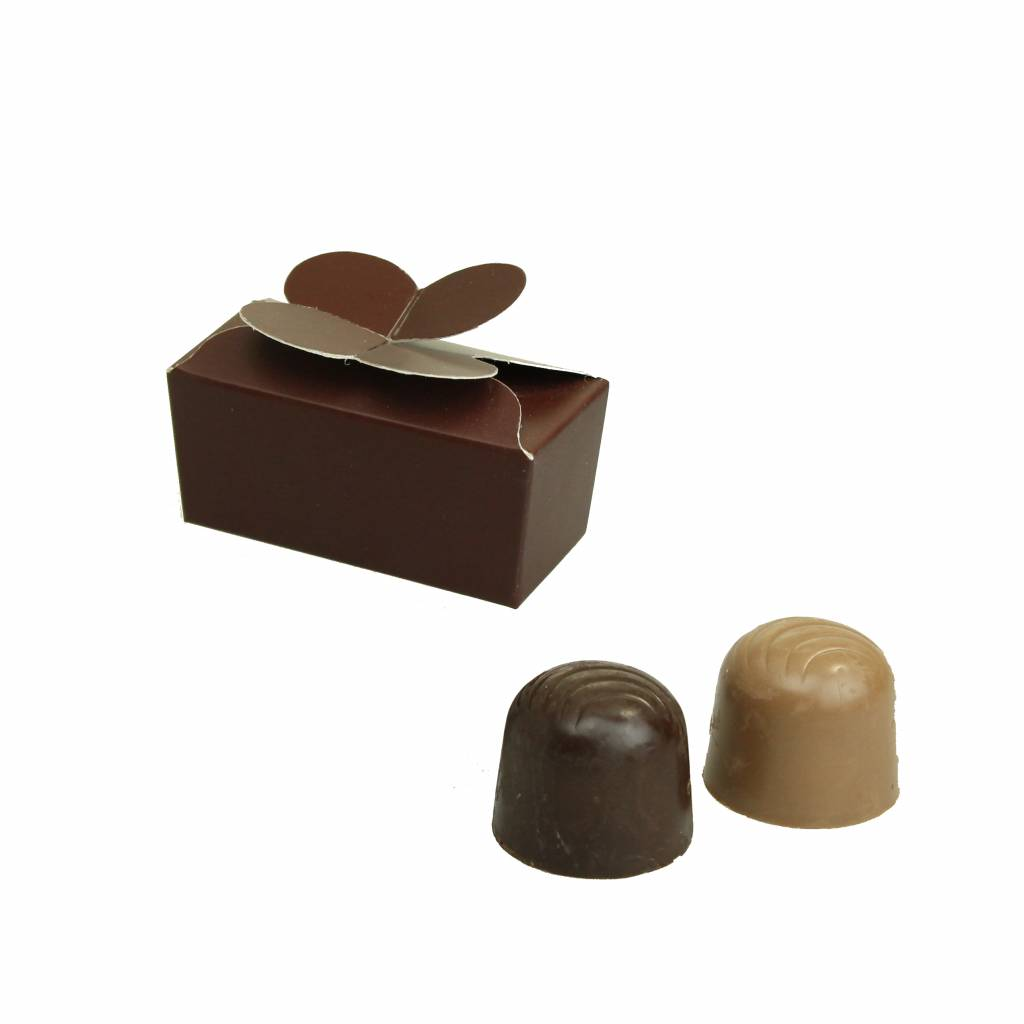 Mini ballotin for 2 chocolates - dark brown - 65 * 30 * 30mm  - 100 pieces