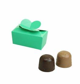 Mini ballotin voor 2 bonbons - glanzend emerald