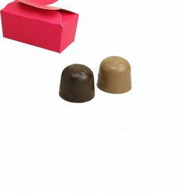 Mini ballotin voor 2 bonbons - fuchsia