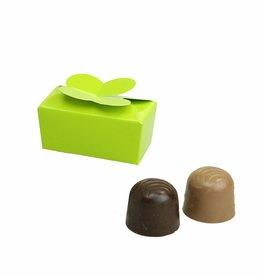 Mini ballotin for 2 chocolates - glossy lime