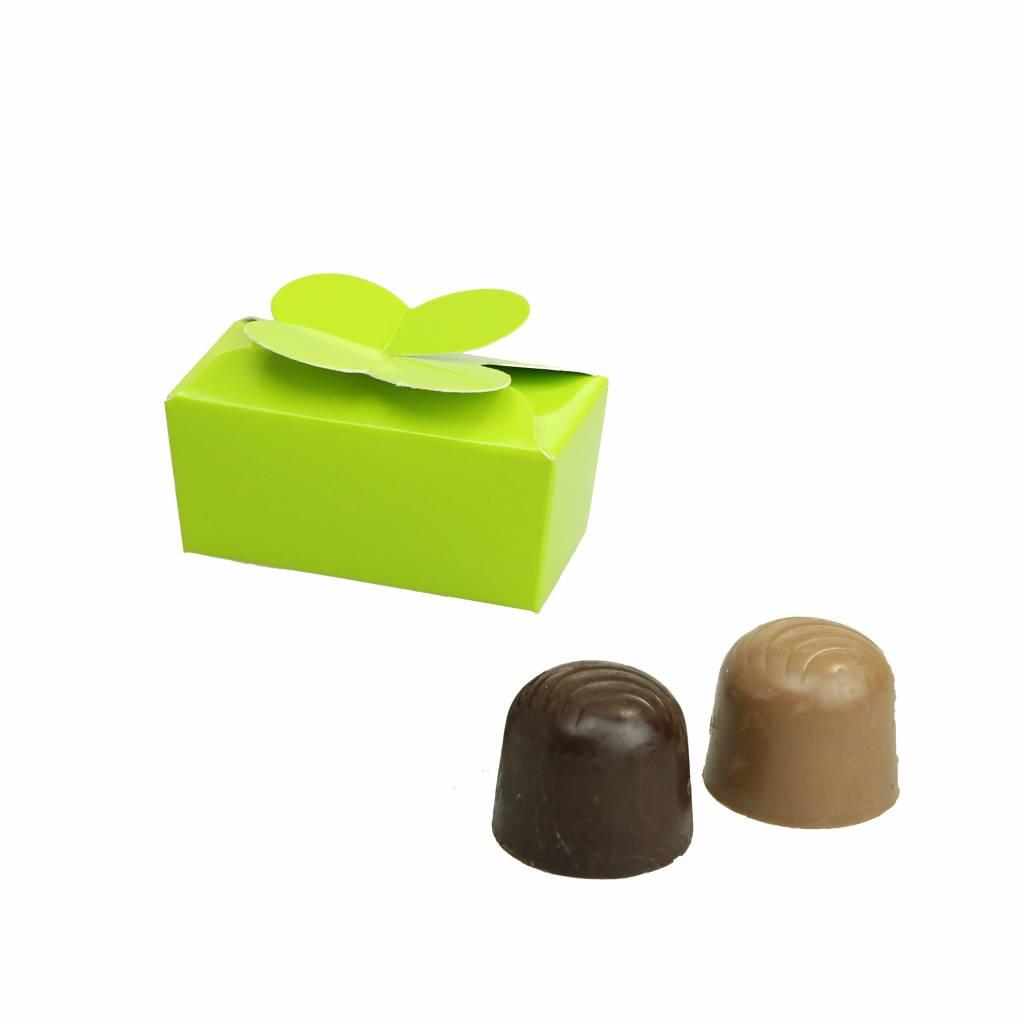 Mini ballotin for 2 chocolates - glossy lime - 65 * 30 * 30mm  - 100 pieces