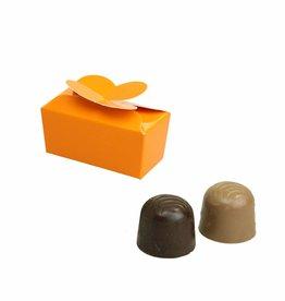 Mini ballotin voor 2 bonbons - oranje glanzend