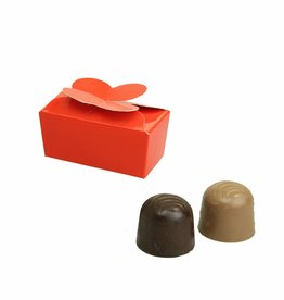 Mini ballotin voor 2 bonbons - glanzend rood