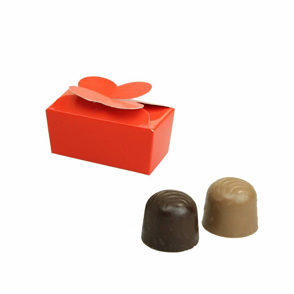 Mini ballotin für 2 Pralinen - glänzend Rot - 65 * 30 * 30mm  - 100 Stück