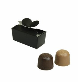 Mini ballotin voor 2 bonbons - glanzend zwart