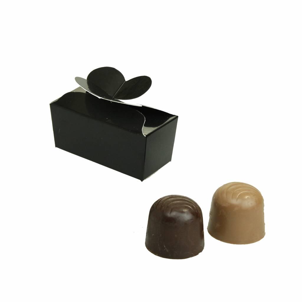 Mini ballotin für 2 Pralinen - glänzend Schwarz - 65 * 30 * 30mm  - 100 Stück