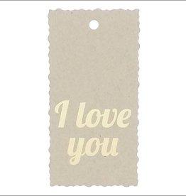 """Kadokaartje """"I love you""""  - Natural Paper Gold"""