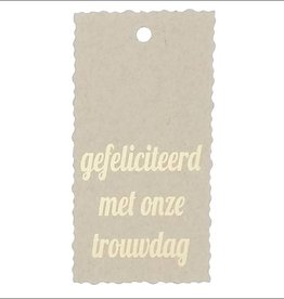 """Kadokaartje """"Gefeliciteerd met onze trouwdag""""  - Natural Paper Gold"""