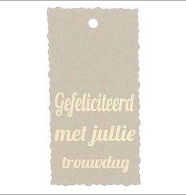 """Kadokaartje """"Gefeliciteerd met jullie trouwdag""""  - Natural Paper Gold"""
