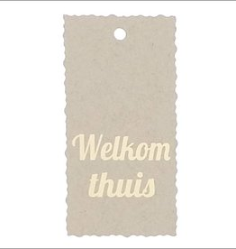 """Kadokaartje """"Welkom thuis""""  - Natural Paper Gold"""