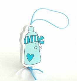 Gelukspoppetje baby flesje - blauw
