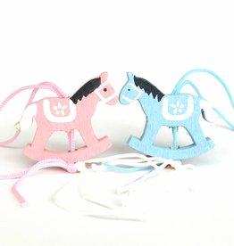 Pendentif cheval à bascule baby - bleu