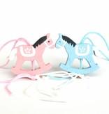 Pendentif cheval à bascule baby - rose - 30*25mm - 50 pièces