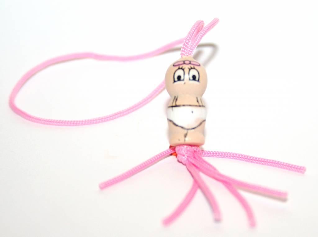 Gelukspoppetje baby meisje - roze - 15mm - 50 stuks