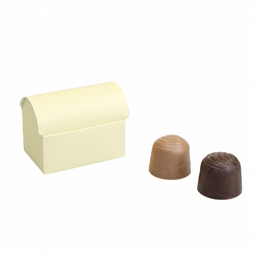 Mini treasure chest for 2 chocolates - White Smoke -70 * 45 * 50mm  - 100 pieces
