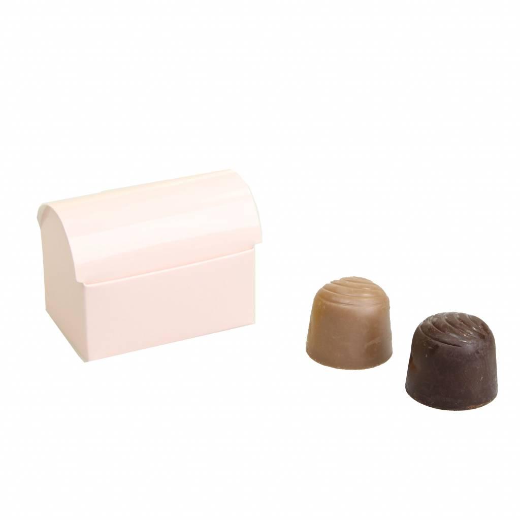 Mini schatkistje voor 2 bonbons - glanzend lichtroze - 70 * 45 * 50mm - 100 stuks