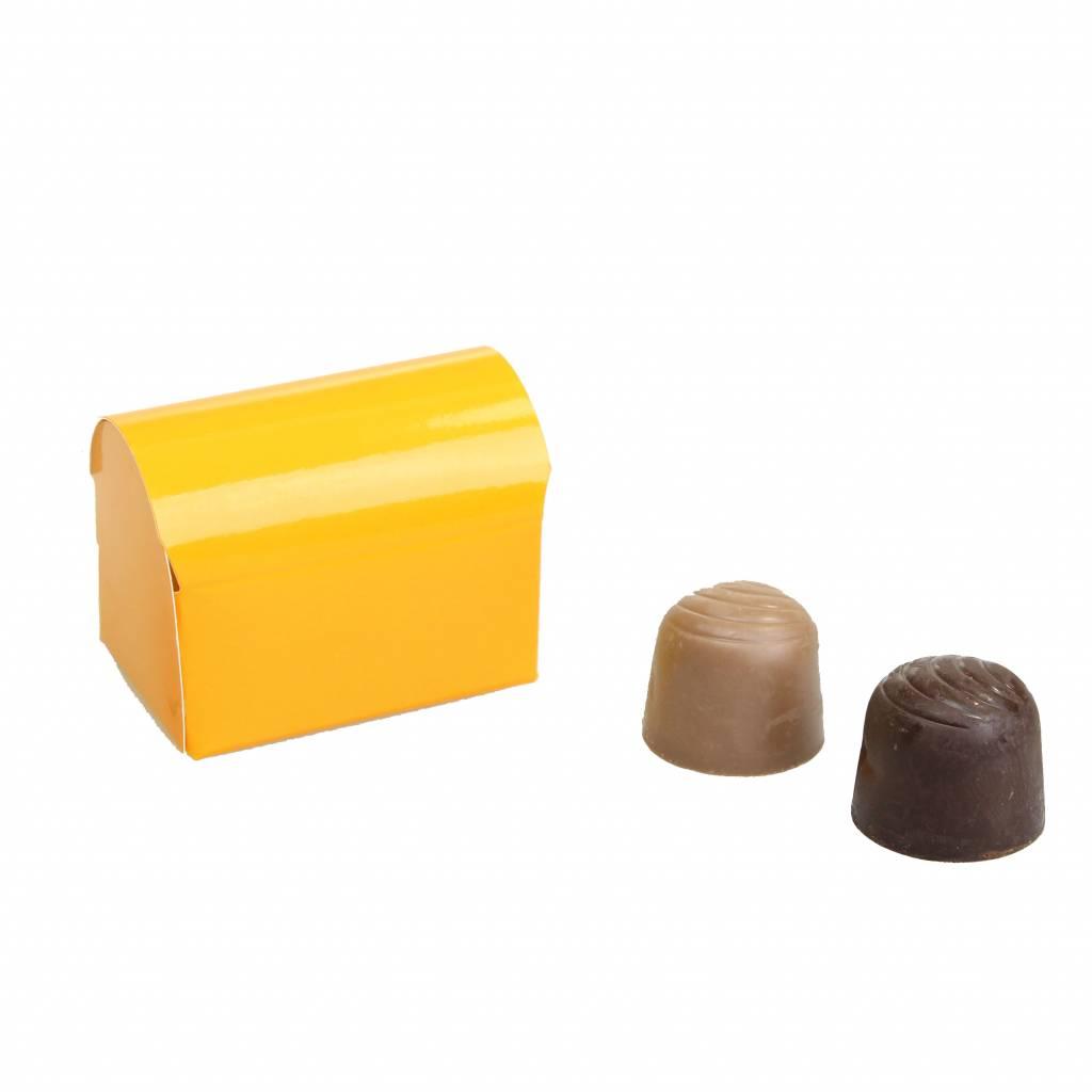 Mini Schatzkiste für 2 Pralinen - glänzend Orange - 70 * 45 * 50mm  - 100 Stück