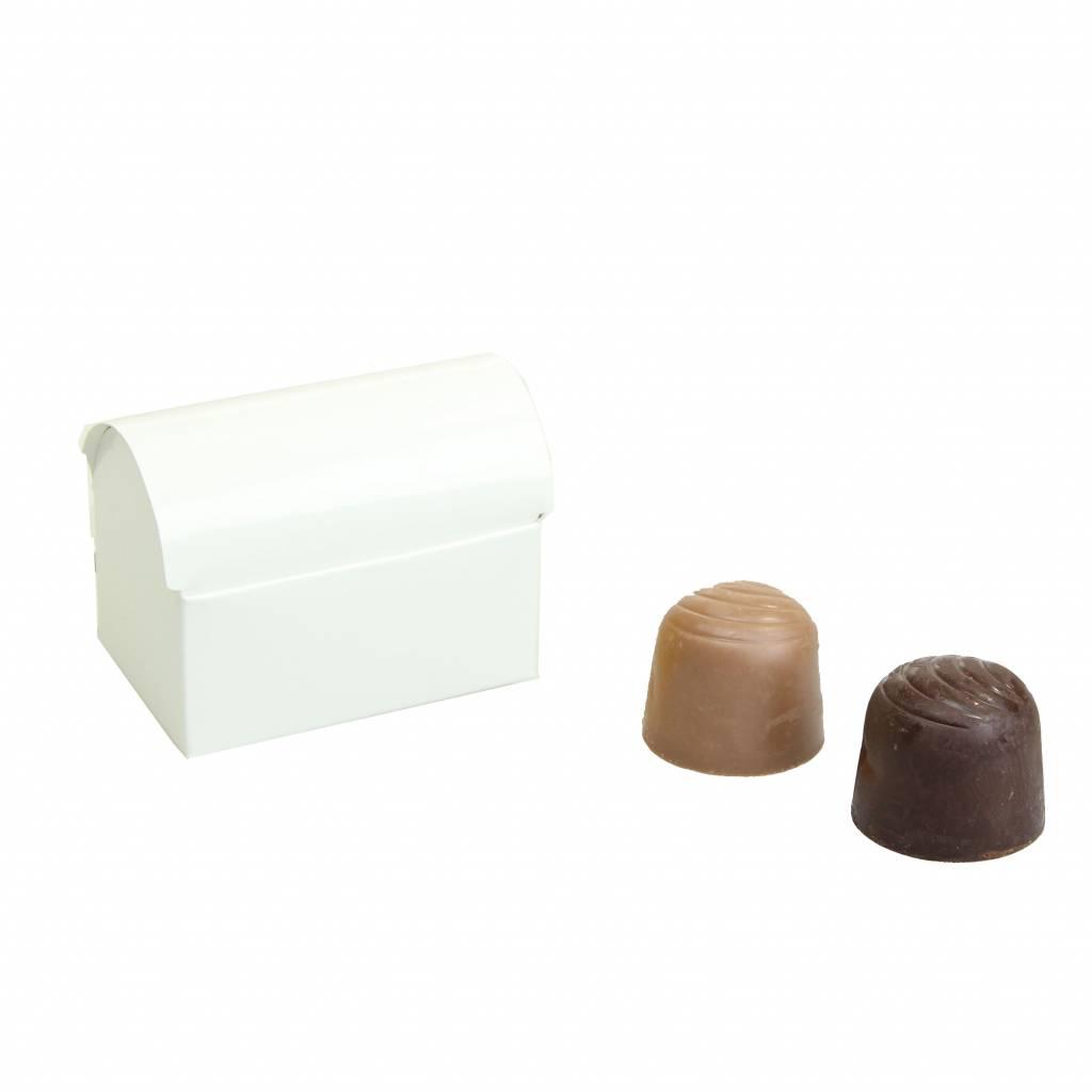 Mini Schatzkiste für 2 Pralinen - glänzend Weiß - 70 * 45 * 50mm  - 100 Stück