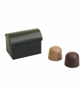 Mini treasure chest for 2 chocolates reliëf - black